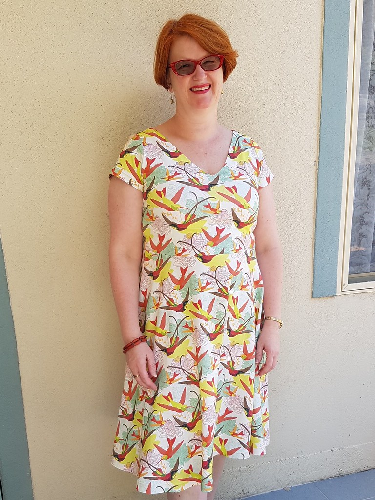 Cashmerette Turner dress in Spoonflower cotton spandex print by Three Branches Design