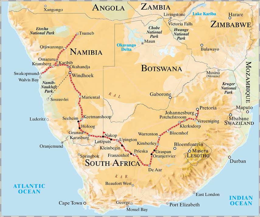 Namibia On Africa Map.Pride Of Africa Rovos Rail Namibia Safari Map Namibian S Flickr