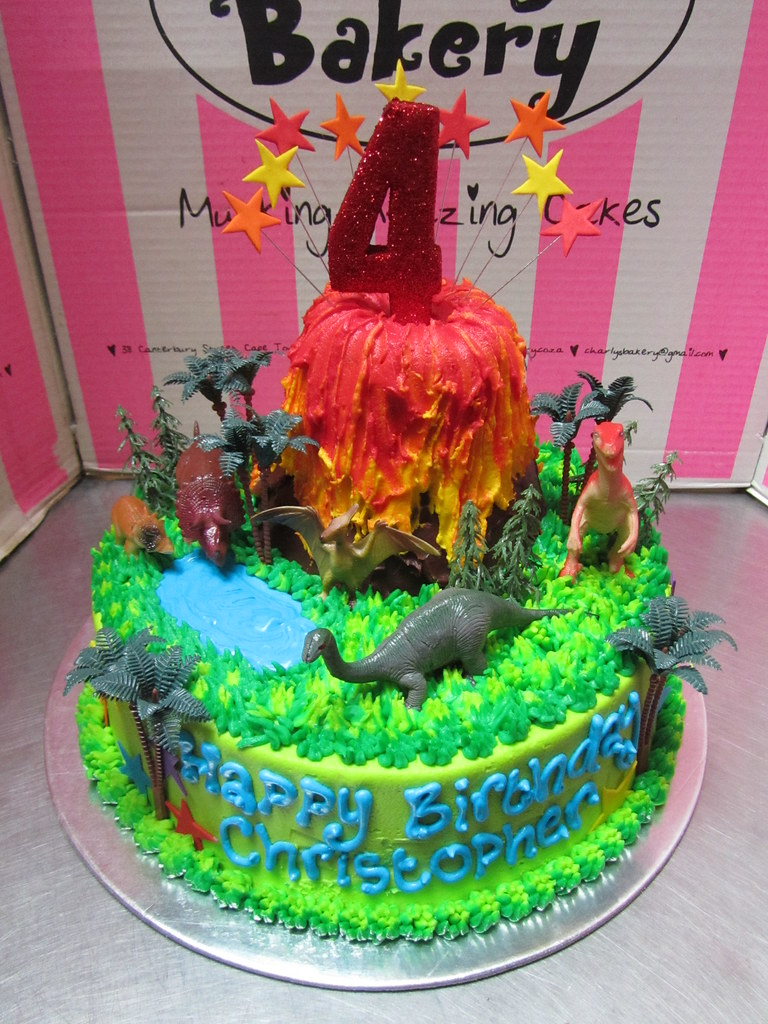 Volcano And Dinosaurs Themed 4th Birthday Cake With Toy Pl Flickr