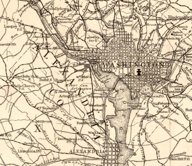 Roberts Bicycle Map Washington DC and area 1896 detail Flickr