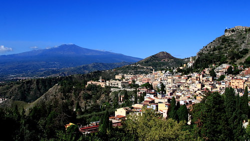 Mt Etna and Taormina as seen from the Ancient Theatre of Taormina | by jmenard48