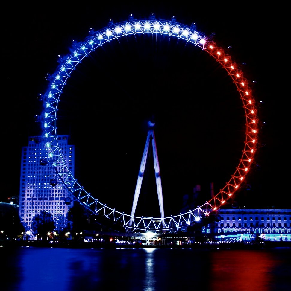 pray for paris the london eye was illuminated in the trico flickr