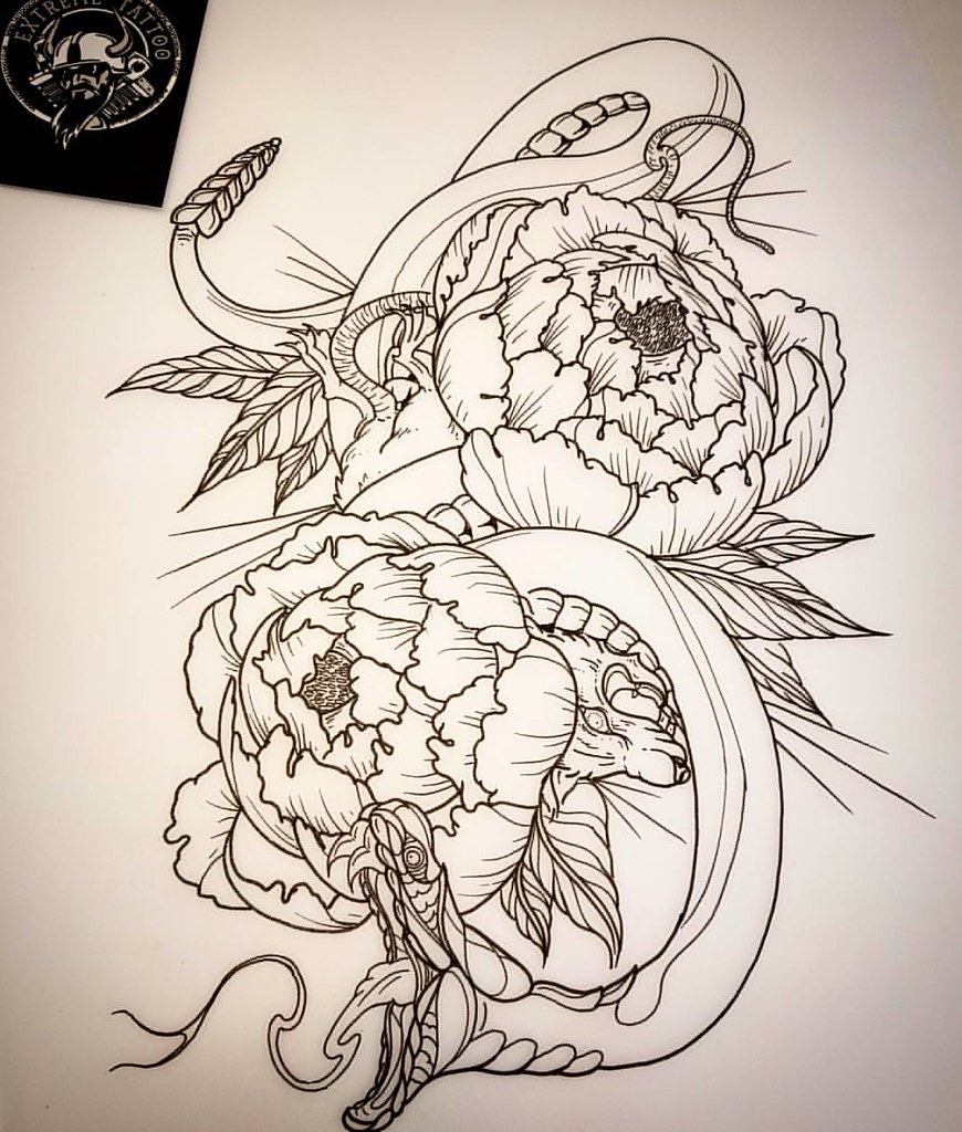 Snake Lotus Flowers Tattoo Design By Aaron Goodall Doogu Flickr
