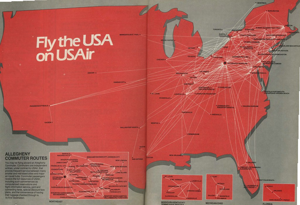 USAir Route Map October A USAir Route Map From Octob Flickr - Us airways direct flights map