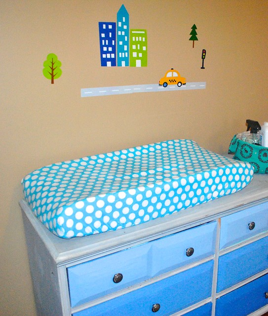 The cutest Toddler Train Room Cuddle fabric makeover by Lindsay Sews