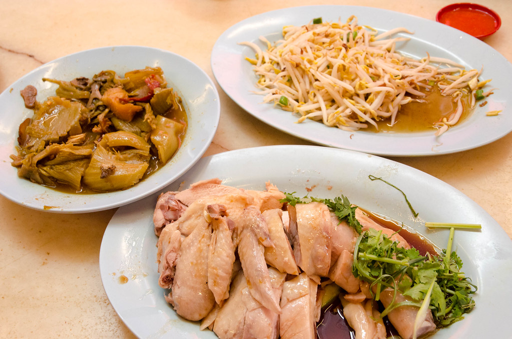 Steamed chicken, tauge and sour spicy vegetables.