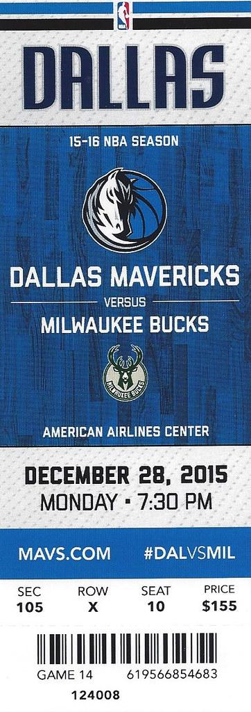 December 28, 2015, Dallas Mavericks vs Milwaukee Bucks, Am