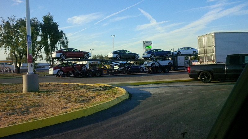 Spotted a Coil of @Teslamotors Model S heading off to their new owners at Buttonwillow, CA