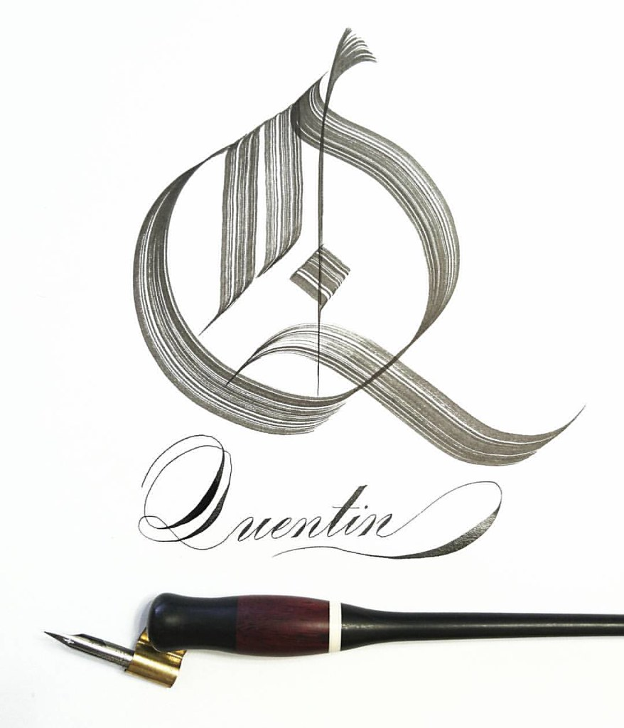 Q Gothic Calligraphy Art Lettering Fashion Colorful