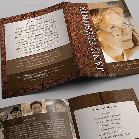 Modern Leather Funeral Program Template