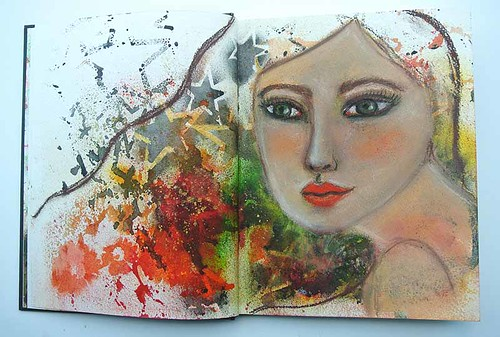 Mixed media girl from my art journal2