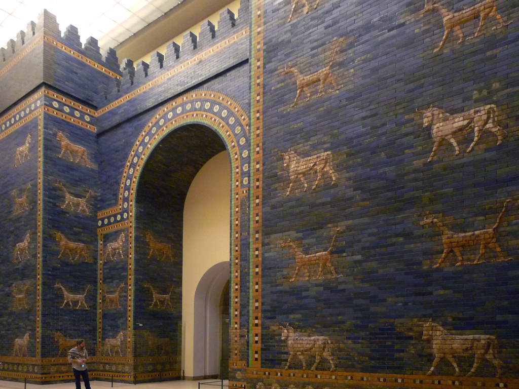 ishtar gate with mušḫuššu and auroch babylon ishtar gate flickr