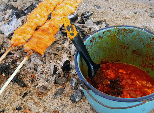BBQ 'Fish on a Stick' on the beach at Puerto Vallarta on the Pacific coast of Mexico