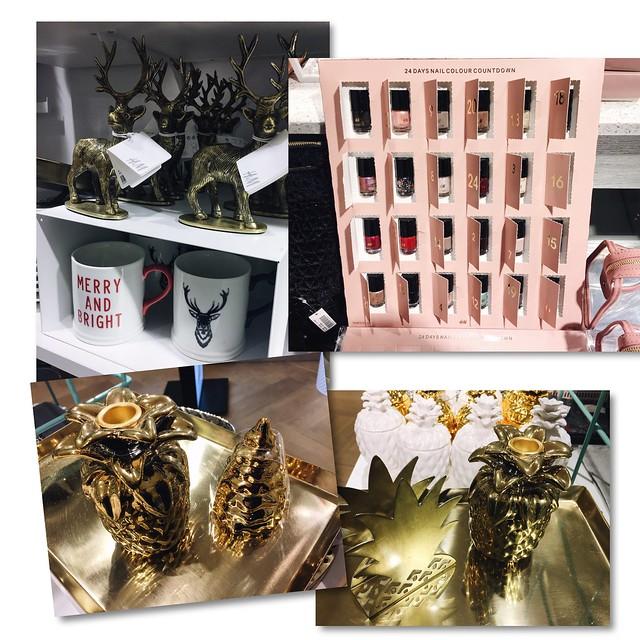 h&m, hennes and mauritz, h&m home, joulu, christmas, inspiration, decor, sisustus, koti, home, home interior, decoration, sisustaminen, interior design, merry & bright joulumuki, christmas mug, h&m christmas nail calendar, kynsilakka joulukalenteri, gold ornaments, kultaiset koriste esineet, ananas, pineapple, kultainen ananas, valkoinen ananas, white pineapple,