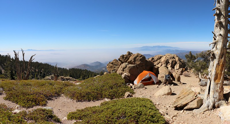 My tent and campsite at Limber Pine Bench with an awesome view west over Los Angeles