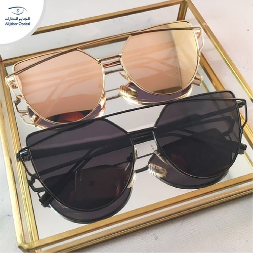 #Mirrored #sunglasses by #Dior! A must have!  #AlJaber_Optical #eyewear #gold #black | by Al Jaber Optical