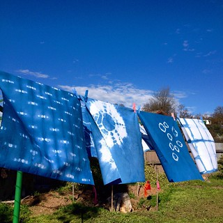 I set up an indigo vat at craft camp. These are @janljos' gorgeous panels. | by [Suse]
