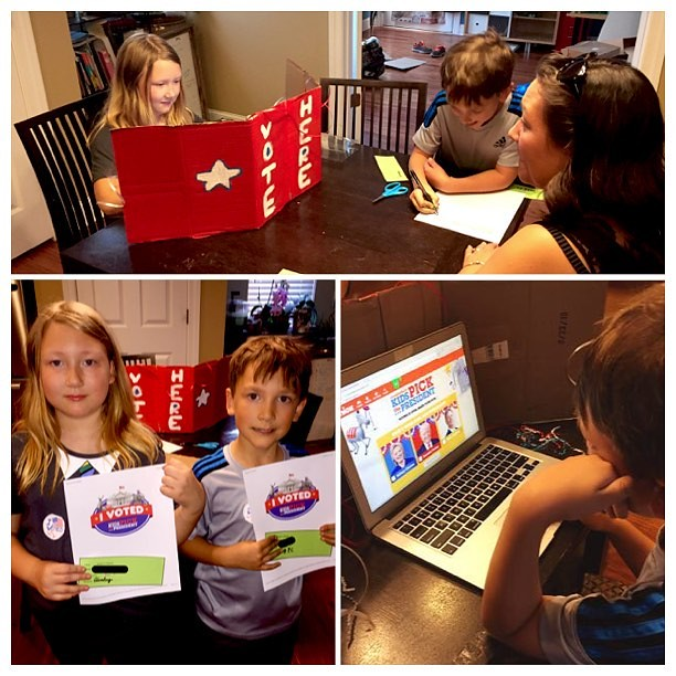 We had a family mock election precinct tonight. Kids we're really excited to vote & get stickers.
