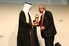 Prakash P. Hinduja, Chairman, Hinduja Group (Europe), Switzerland, receiving the ABLF Outstanding Business Citizen Award from H.H. Sheikh Nahayan Mabarak Al Nahayan, Minister of Culture and Knowledge Development, UAE