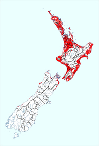Red areas on the map show where  Argentine Ants are likely to establish.