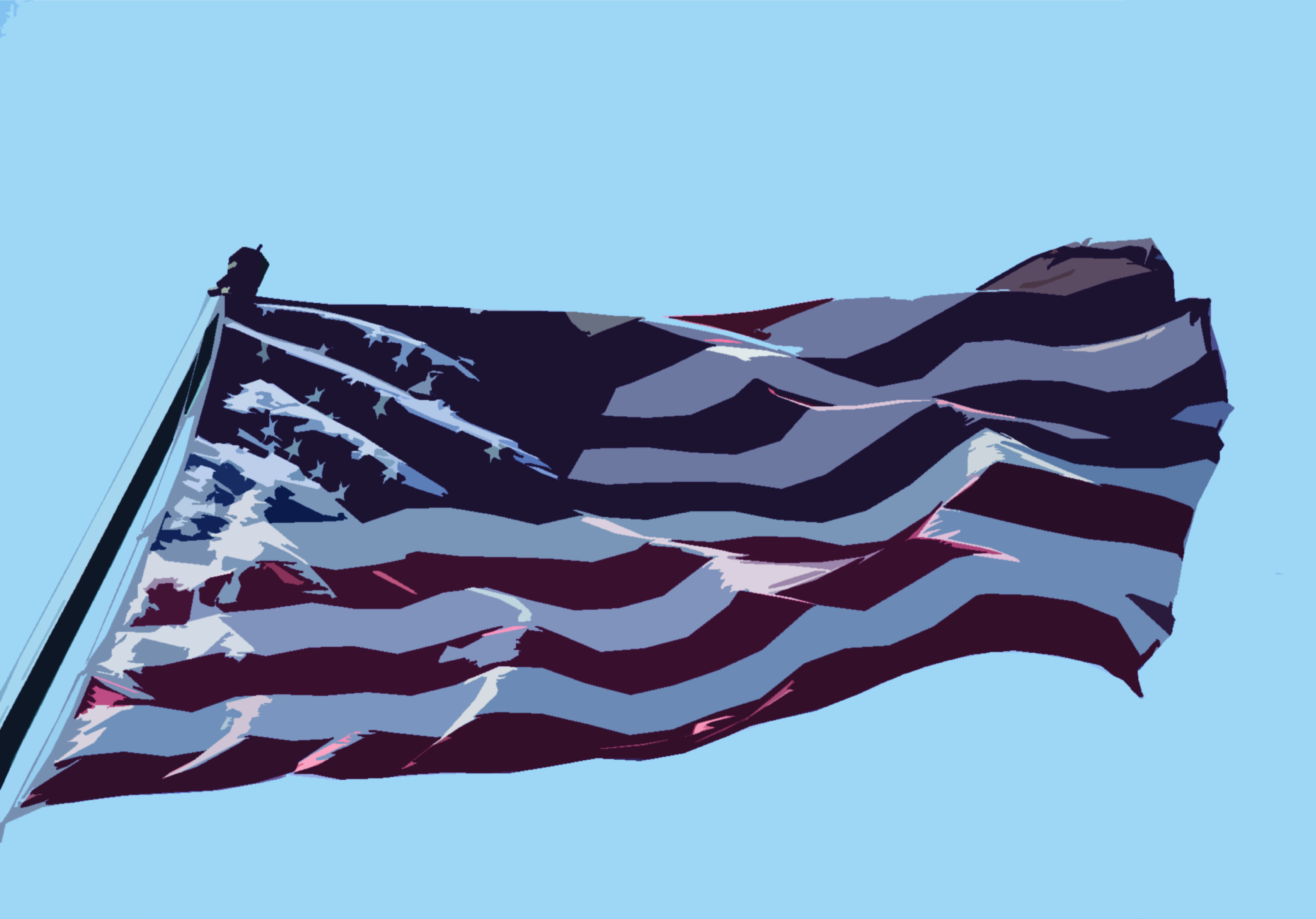 An illustration of an American flag waving in the air.