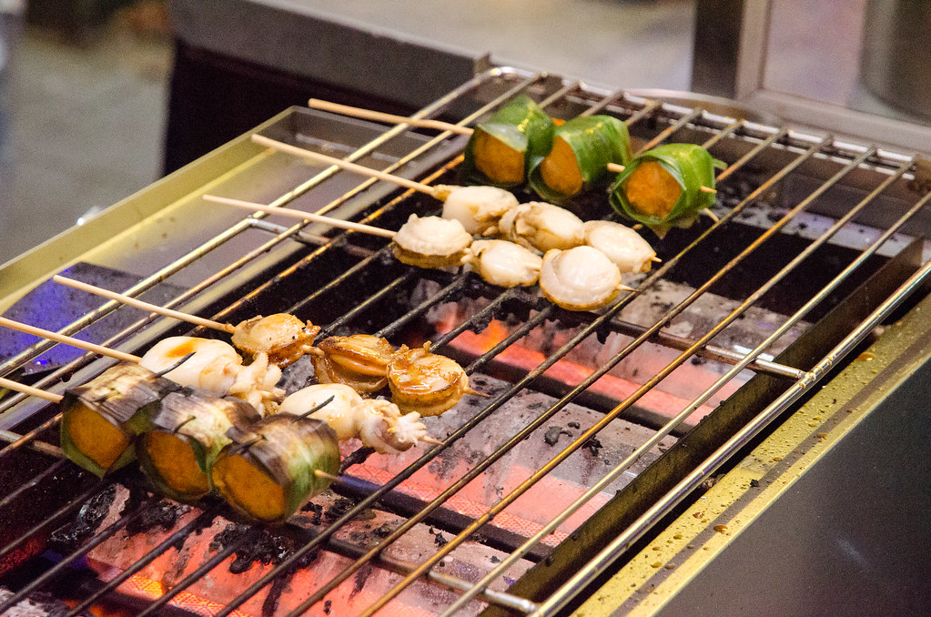 Grilled scallops and other seafoods.