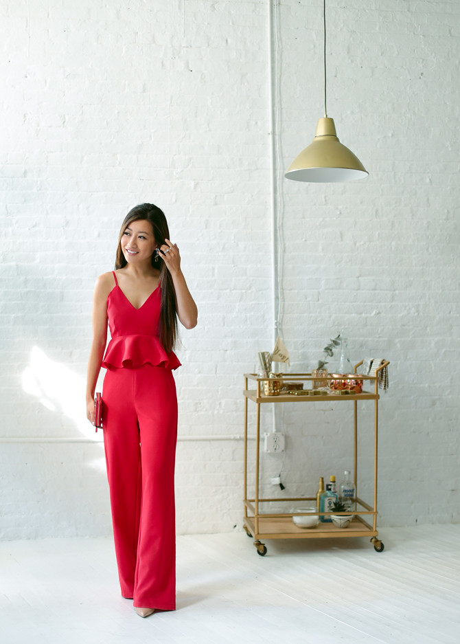 red peplum jumpsuit holiday black tie formal party outfit