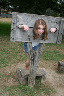 Pantyhose in the Pillory   A girl in the pillory stocks