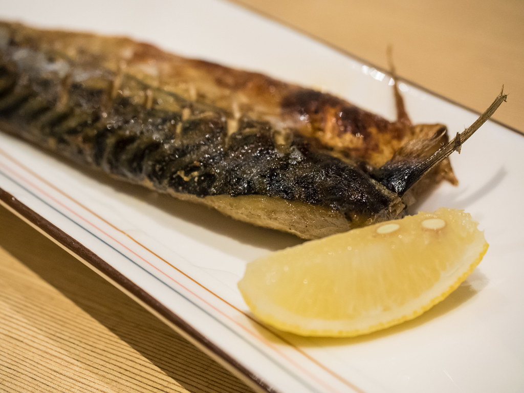 Saba Shioyaki - Grilled Mackerel fish with salt at Aoki Tei Japanese Restaurant