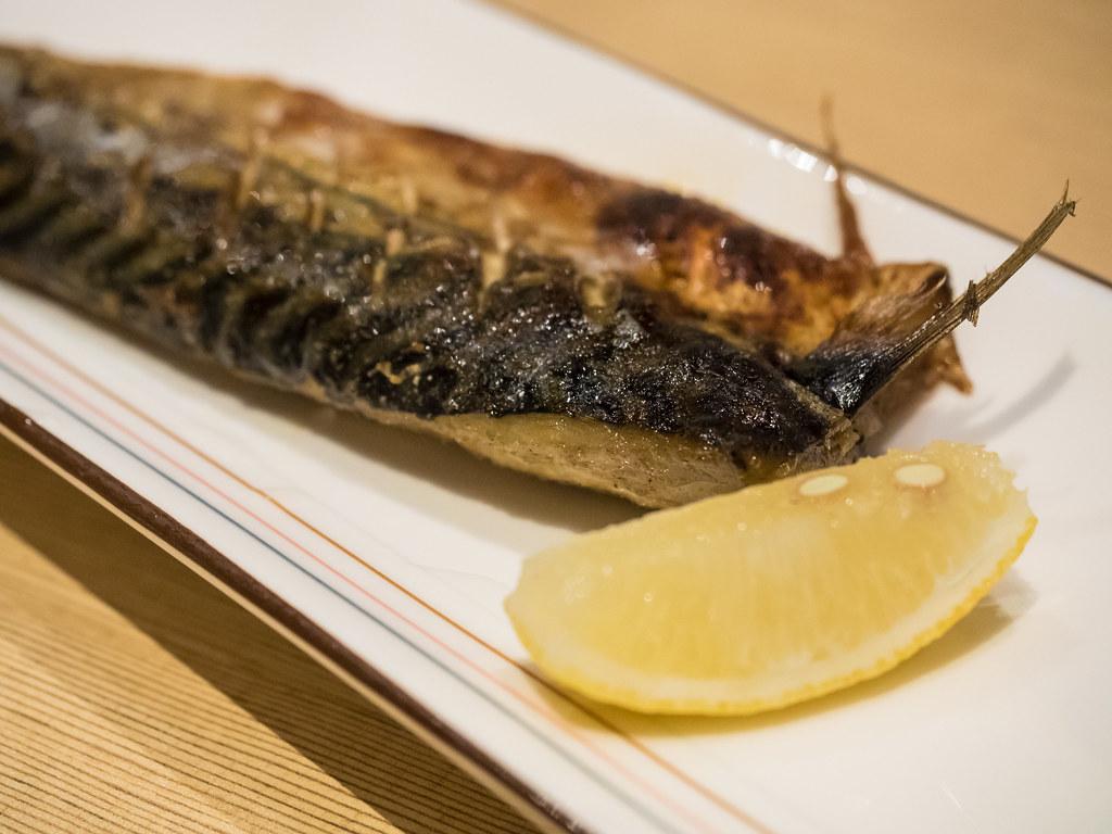 Saba Shioyaki - Grilled Mackerel fish with salt at Aoki Tei Japanese Restaurant
