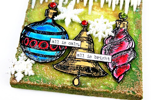 Meihsia Liu Simply Paper Crafts Mixed Media Canvas Trio Tastic Ornaments Snowflakes Tim Holtz Simon Says Stamp Monday Challenge 3