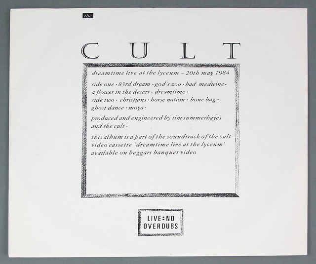 "CULT DREAMTIME ORIG UK 12"" 2LP VINYL"