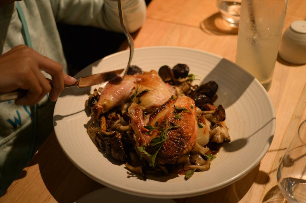 jidori chicken with mushrooms