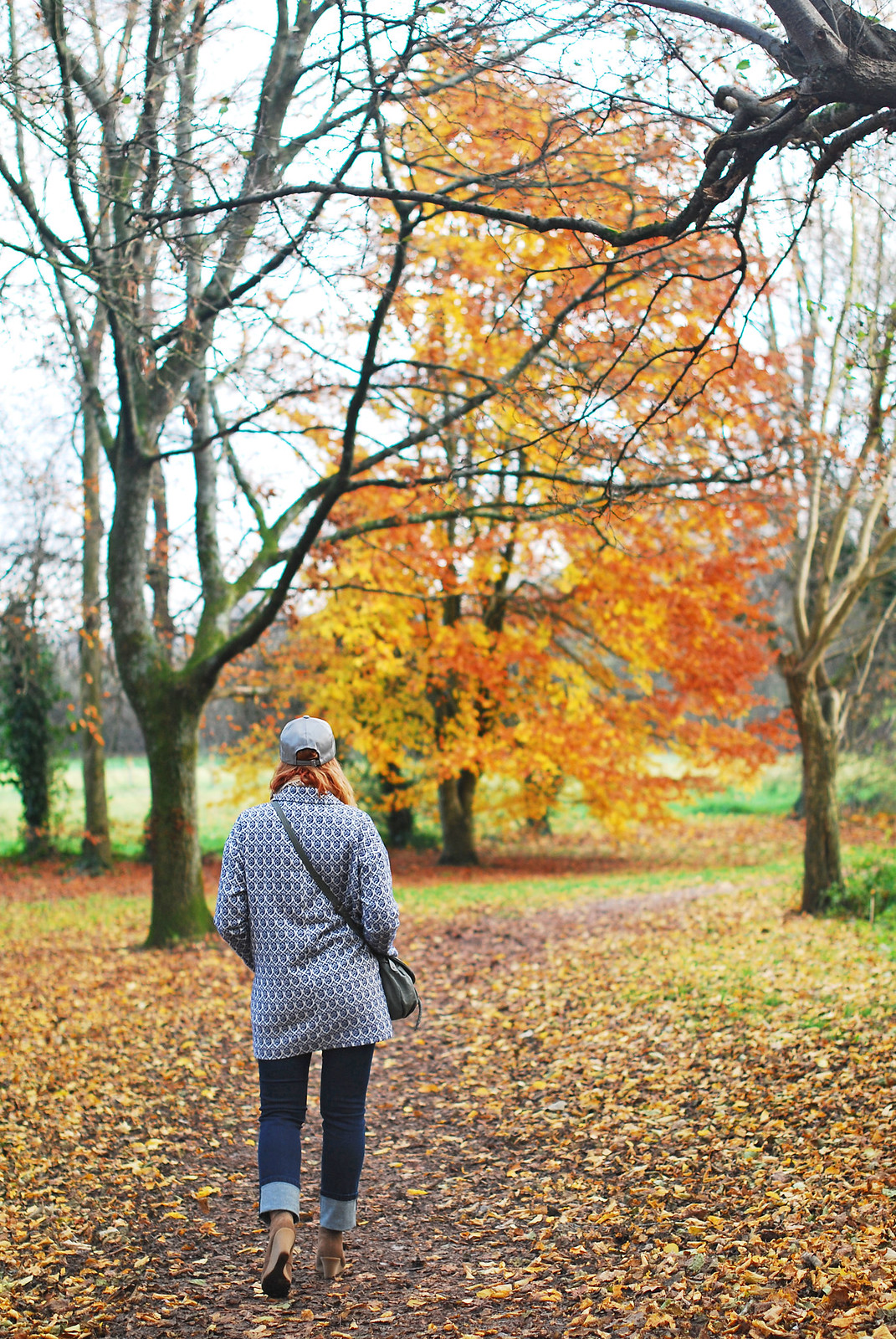 Cold weather \ walking in the woods \ walking the dog outfit \ Tapestry coat, deep hem skinnie jeans, grey cap and wedge desert boots | Not Dressed As Lamb, over 40 style blog