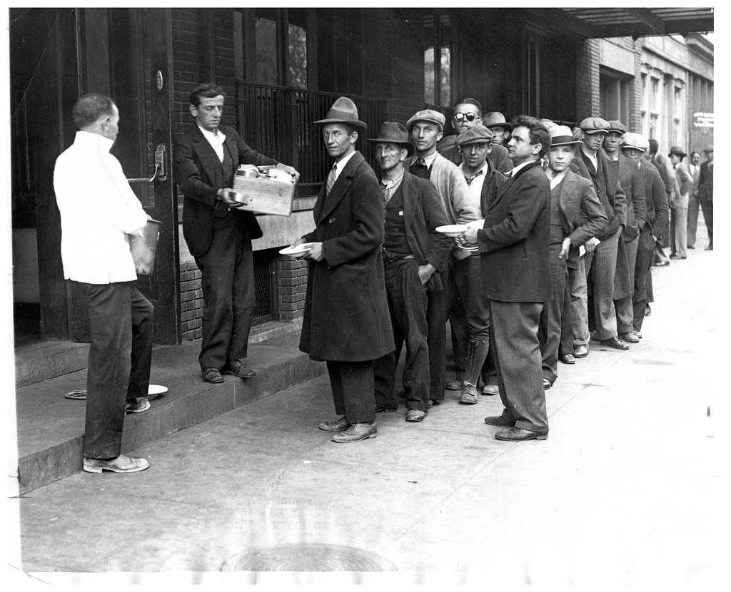 bread line forms during great depression: 1930 | jobless lin… | flickr