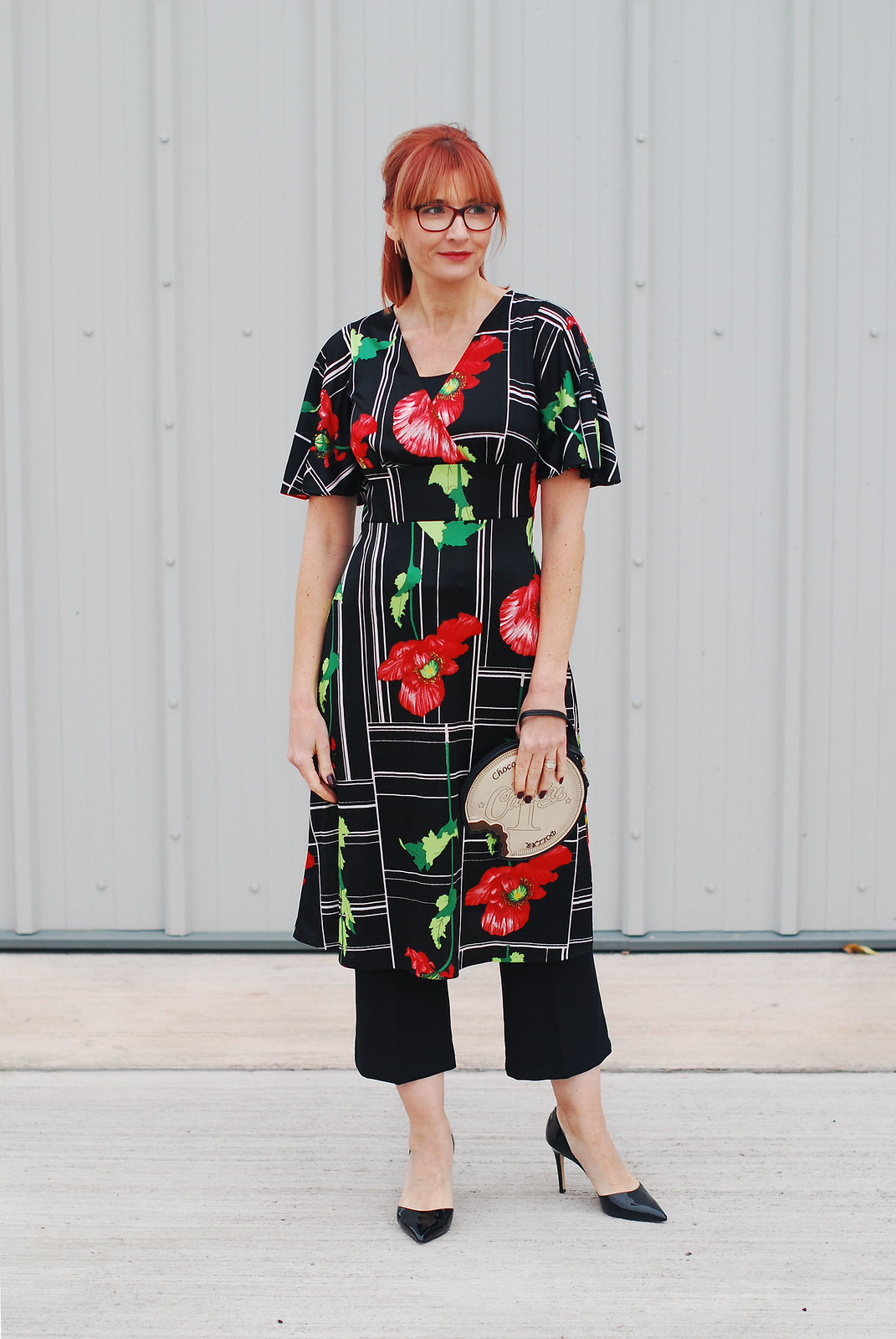 Cocktail dress code: A 1970s/80s vintage poppy print dress over flared cropped trousers   Not Dressed As Lamb, over 40 style