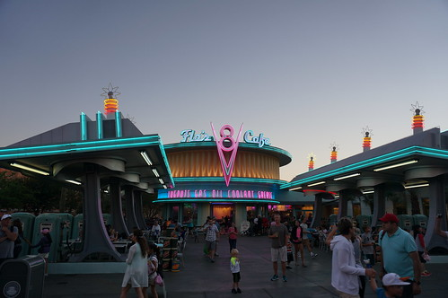 Flo's V8 Cafe at Dusk | by Disney, Indiana