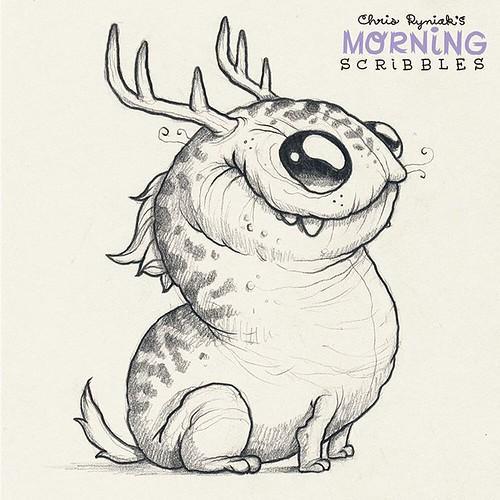 Scribble Monster Drawing : Deerdog morningscribbles chris ryniak flickr