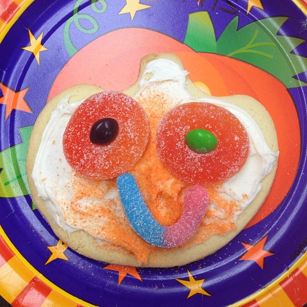 Luke was up first at the cookie station at his school party, and he started out with this cute smile, but then...