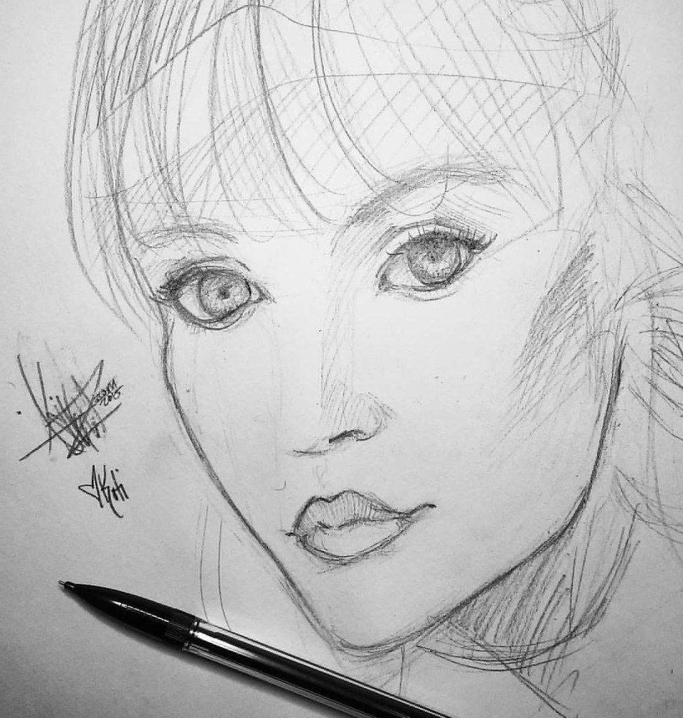 Obsessing over koti rose sketch draw drawing love face model japan obsessed beautiful pretty girl koti pencil sketch sketchdaily