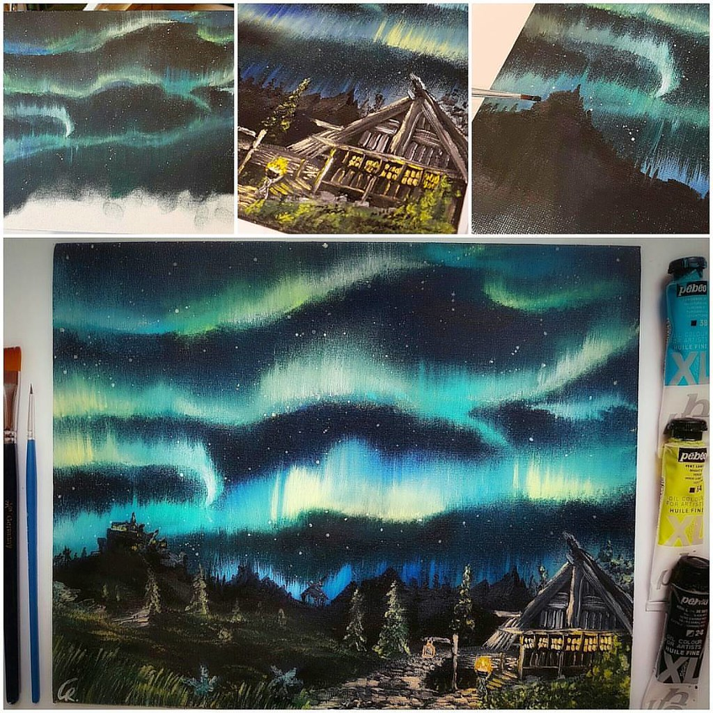 Northern Lights Oil Painting On Paper 25x30cm Paint Drawing