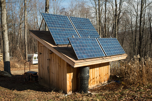 Solar Panels at Winter Angle on Solar Shed | by goingslowly