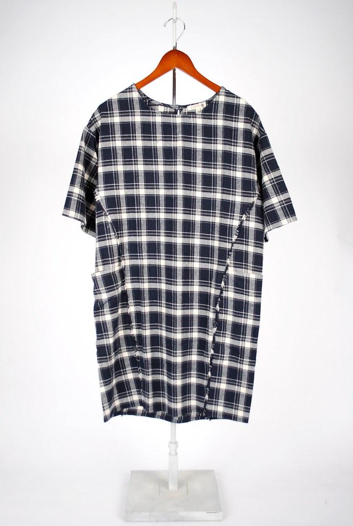 Cotton Plaid Fray Dress