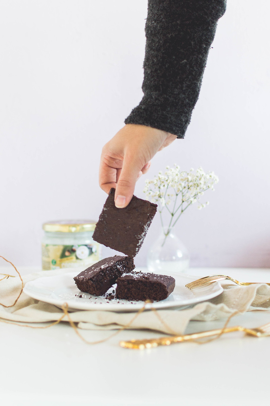 Delicious and gooey but healthy brownies with coconut butter