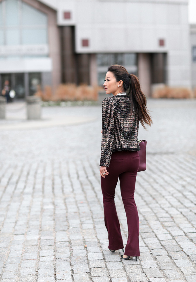 tweed jacket business casual winter office outfit
