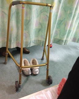 My new best friends. My gold zimmer and sparkly granny slippers.  All my octogenarian ward mates are well jealous! The other day, Lena from the bed next door borrowed it and forgot to give it back. Then she got annoyed with me when I asked for it back and | by Lisa Margreet