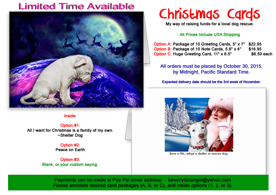 White Pit Bull Puppy Christmas Card with Santa Claus | Flickr