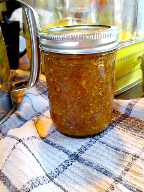 Harissa made with a load of habanero and jalapeno peppers, homegrown tomatoes and Ontario garlic.