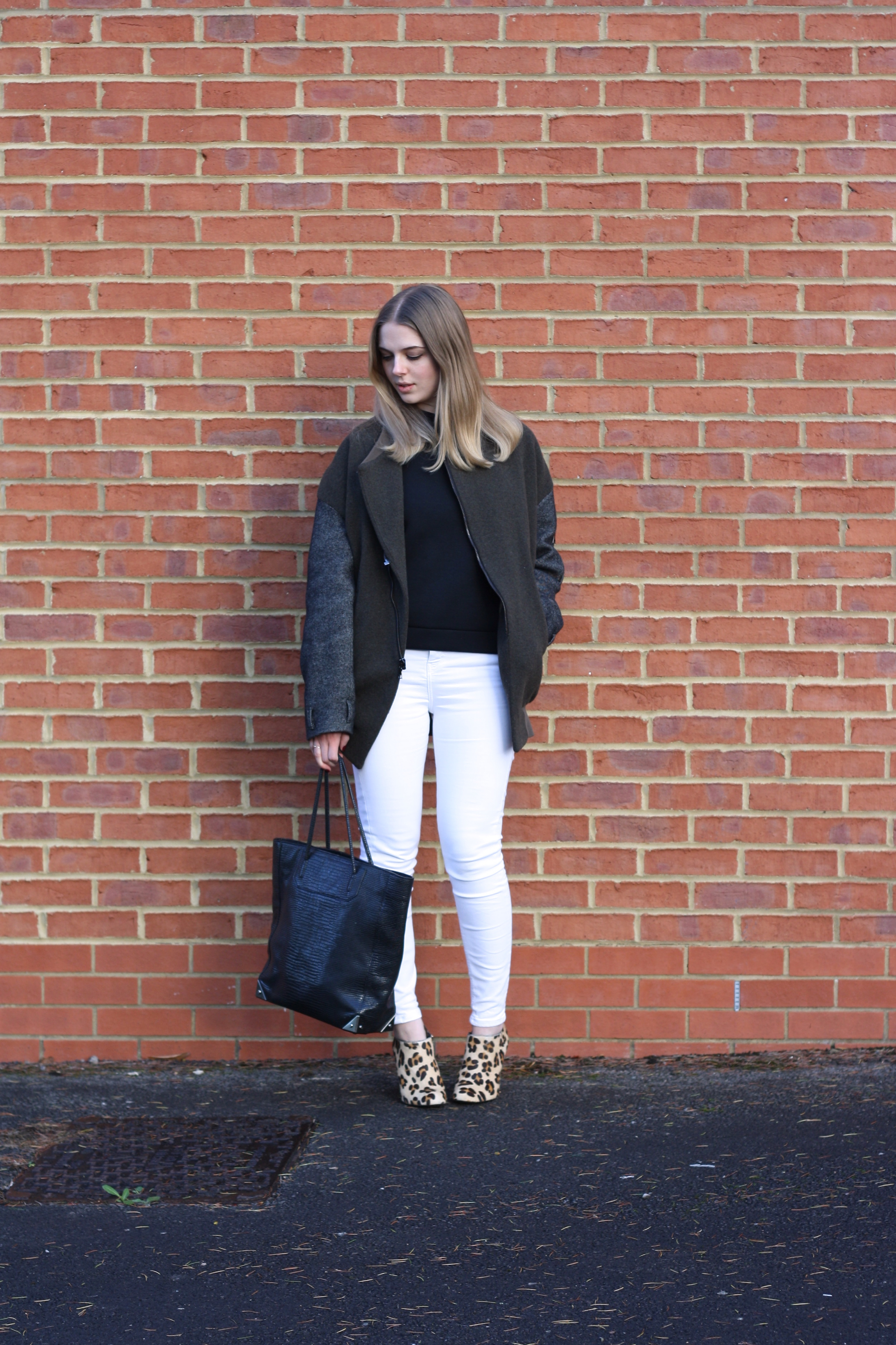 Topshop white skinny jeans, Zara leopard boots and Whistles neoprene sweater
