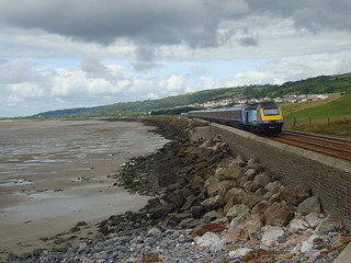 Intercity 125 train running alongside the sea near Llanelli